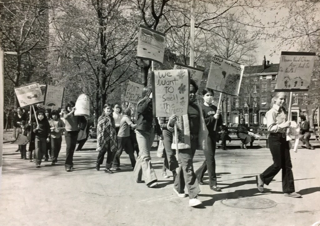 Students March Against Air Pollution in Washington Square Park